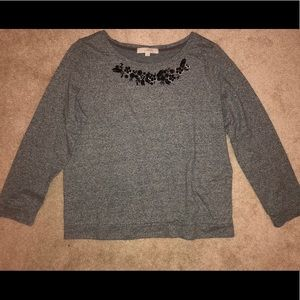 J Crew gray sweater with black detailing size XL